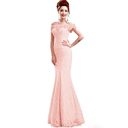 f2a2a551acbd Babyonline Off Shoulder lace red Mermaid Evening Formal Bridesmaid Dress