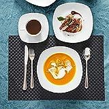 MALACASA, Serie Elisa, 60 TLG. Set Tafelservice Porzellan Kombiservice mit 12 Kaffeetassen, 12 Untertassen, 12 Dessertteller, 12 Suppenteller und 12 Essteller - 5