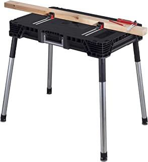 KETER Jobmade Portable Work Bench and Miter Saw Table for Woodworking Tools and Accessories with Included Wood Clamps – Re...