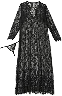 Lingerie for Women Sexy Long Lace Dress Sheer Gown See Through Kimono Robe Plus Size Lace Nightwear
