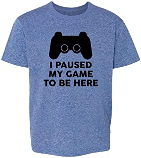 I Paused My Game to Be Here PS Controller Gamer Youth Kids Girl Boy T-Shirt