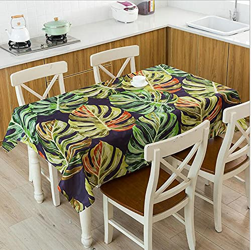 XXDD Green Bamboo Leaves Printed Waterproof Tablecloth Linen Kitchen Dining Table Home Decor Tablecloth A13 140x160cm