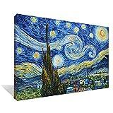 Asdam Art-(100% pintado a mano 3D)Azul noche estrellada por Vincent Van Gogh óleos sobre lienzo abstracto imagenes enmarcado moderno arte de la pared para sala recamara comedor Decoracion para el hogar(24X36 inch)