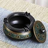 Cenicero oriental de cerámica pintada a mano con tapas, cenicero creativo para el hogar, cenicero de cigarros retro, también tienda de artículos (A)