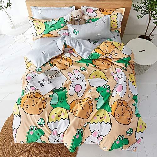 YUXO Duvet Set Bedding Sets 4pcs Cute Cartoon Flower Bedding Set Polyester Home Textile Garden Bed Sheet Quilt Cover Pillow Case Boy Girl Bedding 1024 (Color : 80116, Size : Flat Bed Sheet)