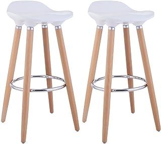 comprar comparacion Taburetes, de FurnitureR, diseño moderno, ideal para bar o cocina, con patas de madera, 2unidades, madera, Blanco, 2 PC