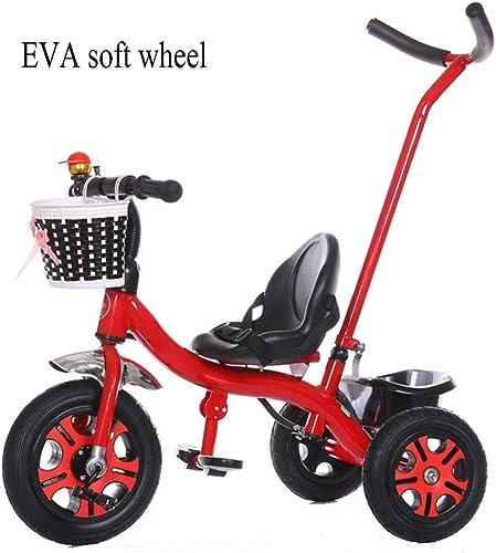 tomamos a los clientes como nuestro dios BHDYHM Triciclo Triciclo Triciclo para Niños, con manija de Empuje y Asiento de Crecimiento para 2-6 años, manija de Empuje extraíble  Disfruta de un 50% de descuento.
