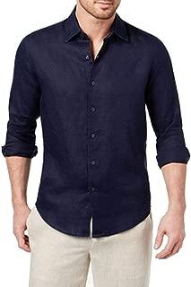 Tasso Elba Mens Linen Casual Button-Down Shirt