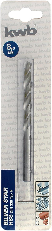 KWB Silver Star Premium Line M/étal Fraise HSS DIN 338/Type N pointu Angle 135//°