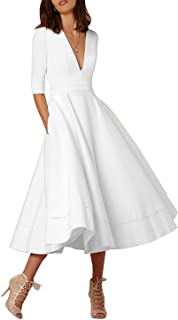 white satin tea length dress