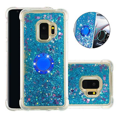 FAWUMAN Hülle für Samsung Galaxy S9 Diamant Ring Flüssig Treibsand Silikon TPU Bumper Hülle für Samsung Galaxy S9 (Blaue Liebe)