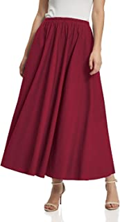 Soojun Women's Solid Cotton Linen Retro Vintage A-line Long Flowy Skirts