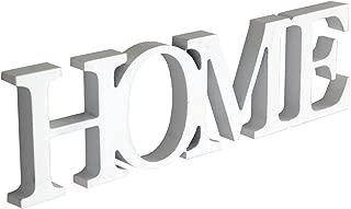 Rebecca Mobili Palabra Decorativa, Texto Home Blanco, Madera MDF, Estilo Moderno, decoración del hogar - Medidas: 8 x 29 x 1,5 cm (AxANxF) - Art. RE4642