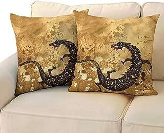RuppertTextile Dragon Square Pillowcase Grunge Floral Ancient Without core W13 x L13