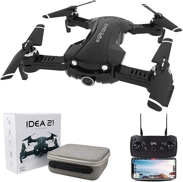 le-idea IDEA21 Drone con Camara HD 4K Drones con Camara Profesional Estabilizador GPS 5G WiFi FPV Drone Tiempo Real Largo Tiempo de Vuelo Drone 16 Minutos Drone Plegable RC