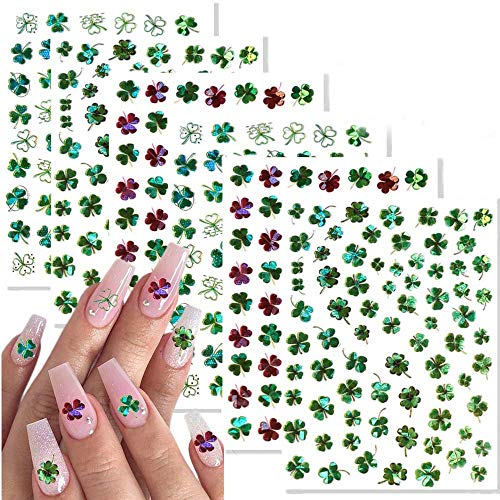400 Pieces St. Patrick's Day Nail Stickers Decals Self-Adhesive Design Nail Art Sticker Glitter Shamrock Leprechaun Green Hat Nail Design Decorations for Kids Girls Women St. Patrick's Day Nail Art Decoration 6 Sheets
