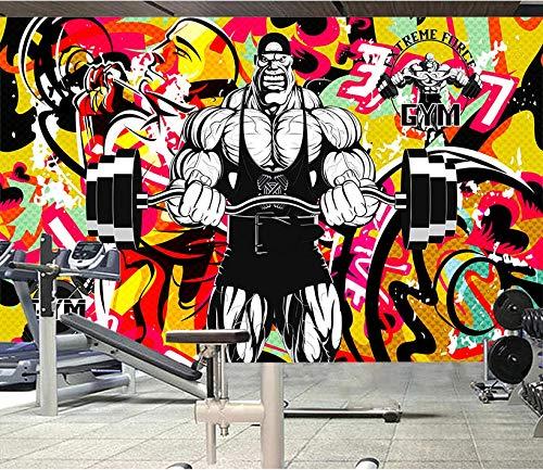 Wanghan Papel Tapiz 3D Papel Pintado Personalizado Europa Y América Color Hombre Fuerte Fitness Fondo De Graffiti Yoga Gimnasio Mural De Pared-150Cmx100Cm