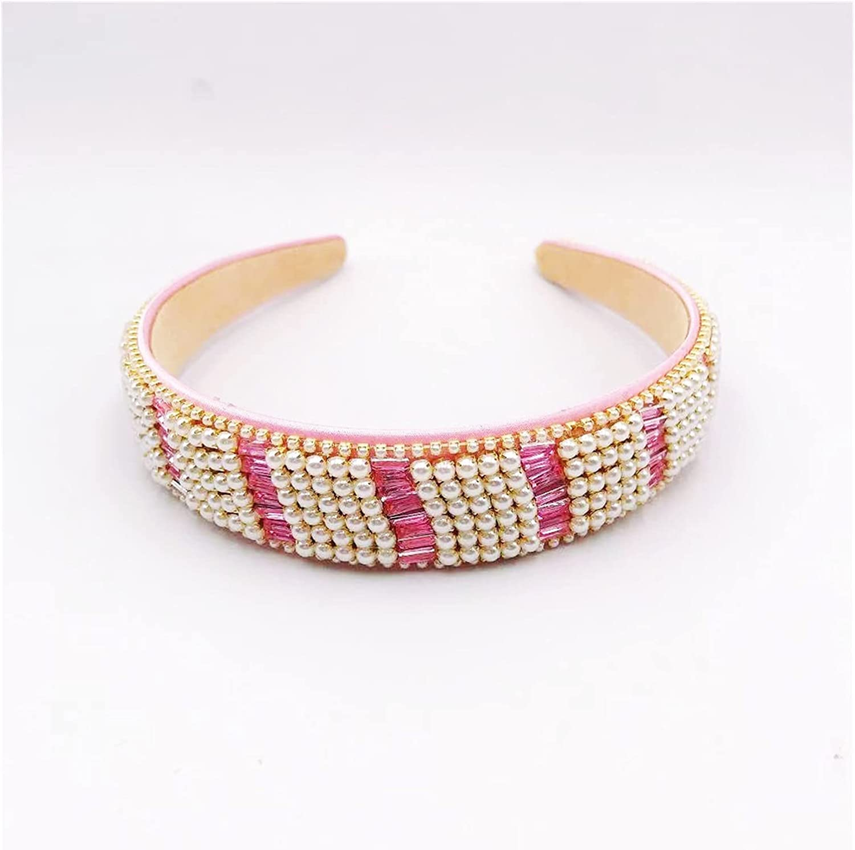 JIAQ 2021 Luxury Pearl Crystal Headbands for Woman High Class Super Shiny Crystal Bezel Bridal Wedding Party Headbands (Color : Pink)