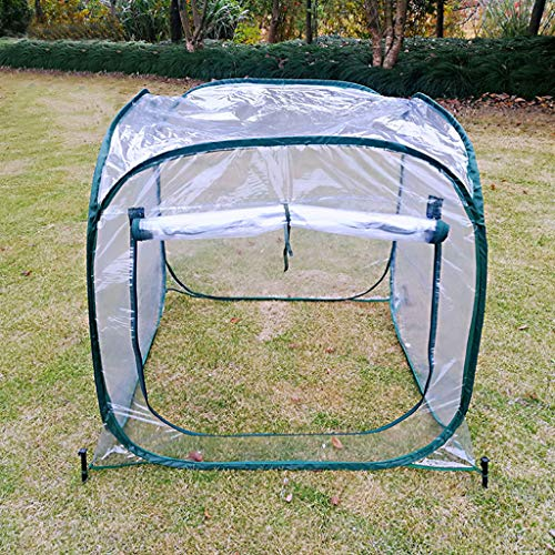 Foldable Pop Up Greenhouse Zipper Ventilation Transparent and Cold Protection in Winter Small Greenhouse Free to Retract or Release No Assembly Required 98x98x98cm