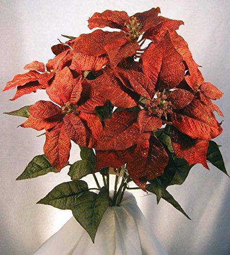 Rust Orange Poly Silk Poinsettia Bush | for Indoor Decor