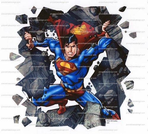 1/4 ~ Superman Cartoon Bustin' Through Birthday ~ Edible Image Cake/Cupcake Topper!!!