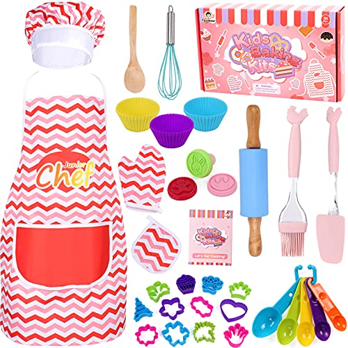 Tacobear 38 Pcs Kids Cooking and Baking Set with Chef Hat and Apron Kitchen Utensils Chef Dress Up Pretend Play Gift for 3 4 5 6 7 8 Year Old Girl