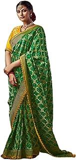 GREEN Indian Woman Wedding Swarovski Pallu Saree Pure Soft Silk Bandhej Weaving Bridal Bandhani Sari Blouse 6246