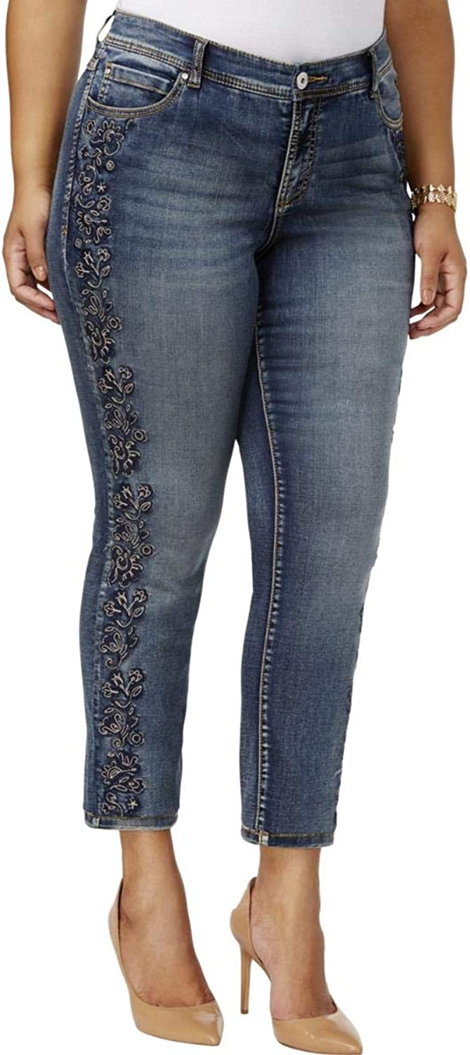 Inc Womens Plus Embroidered Jeweled Skinny Jeans bluee 24W
