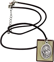 Gifts by Lulee, LLC Saint Gerard Prayer for Safe Delivery Adjustable Brown Mariners Cord Necklace with Square Pendant and Silver Plated Medal with Matching Blessed Prayer Card