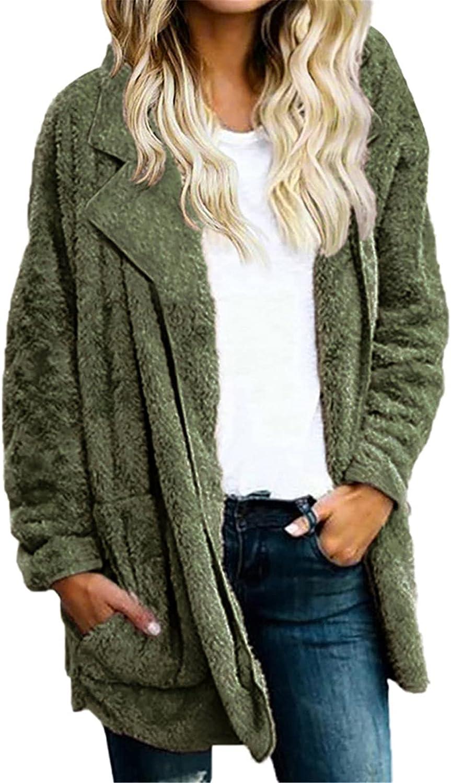 Womens Faux Fur Open Front Lapel Cardigans Fluffy Sherpa Jacket