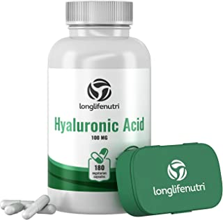 Hyaluronic Acid 100 mg 180 Vegetarian Capsules   Supports Knees & Joints   Skin Complex Tablets   Triple Strength HA Suppl...