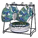 YYAI-HHJU Set Of 4 Famous Painting Coffee Set With Cup Holder,Vintage Pottery Tea Set Saucer Service Tea Service,Afternoon Tea Party, Tea Cups