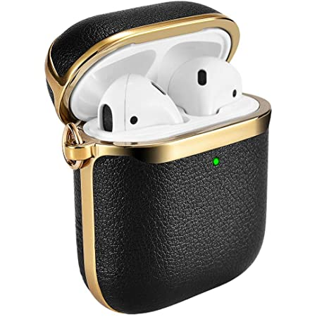 AirPods Case Cover, ICARERSPACE Portable Black Leather Protective Cover Case with Carabiner for Apple AirPods 1 & 2 Charging Case [Front LED Visible] [Support Wireless Charging] - Gold Plated