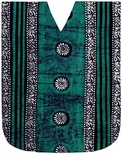 LA LEELA Mujeres Caftán Algodón túnica Batik Kimono Libre tamaño Largo Maxi Vestido de Fiesta para Loungewear Vacaciones Ropa de Dormir Playa Todos los días Cubrir Vestidos Mar Verde_Y2
