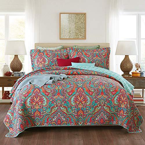 Qucover Tagesdecke 240x260cm Boho Stil Bettüberwurf für Doppelbett Bunte Gesteppte Decke Set Paisley Muster aus Baumwolle & Polyester