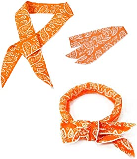 JellyBeadZ Brand - Neck Cooling Scarf Wrap, Keep You Cool, Bandana, Orange
