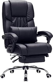 SONGMICS Fauteuil de bureau Chaise pour ordinateur avec repose-pied pliable dossier réglable PU OBG71B