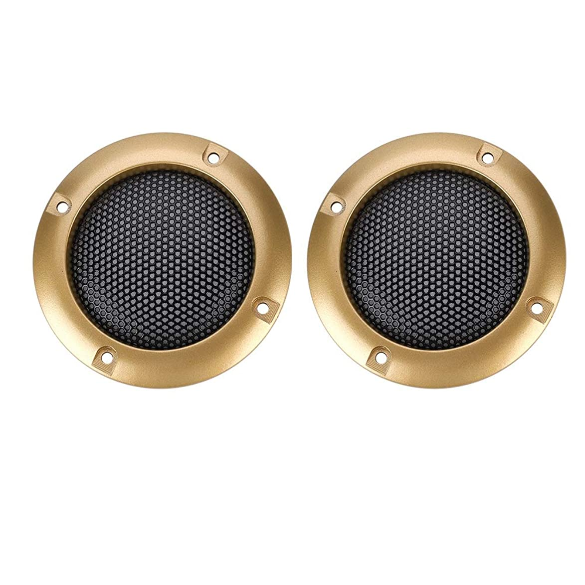 Zerone 2 Inch Speaker Decorative Steel Mesh Circle Car Speaker Protective Mesh Cover Replacement(Gold)