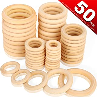 Bestsupplier 50 Pcs Unfinished Solid Wooden Rings for Craft, Ring Pendant and Connectors Jewelry Making, 5 Size