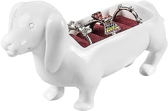 MyGift Decorative White Dachshund Dog Statue Jewelry Ring Holder, Tabletop Display Stand Organizer