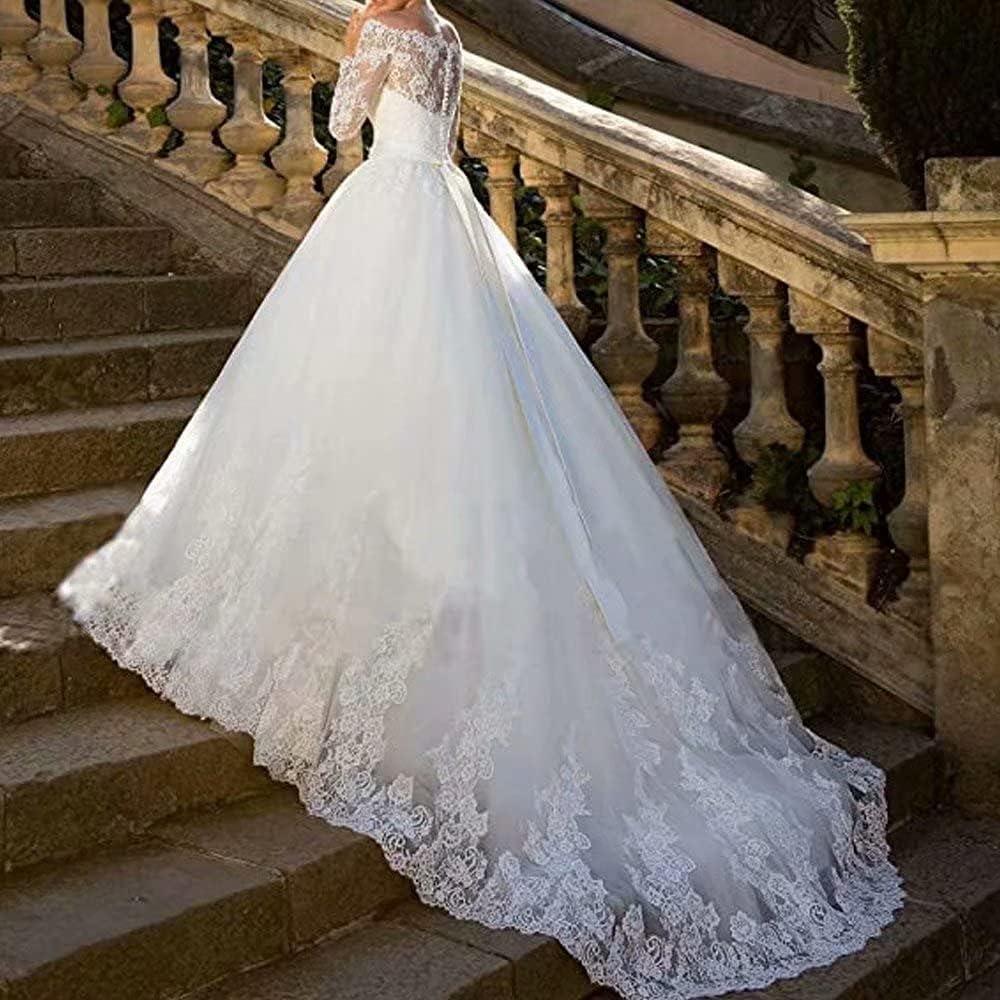 Buy Princess Lace Off Shoulder Wedding Dress for Bride 20 Long ...