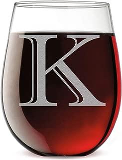 Monogram Etched 17oz Stemless Wine Glass (Letter K)
