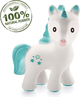 caaocho 100% Pure Natural Rubber Baby Teether Toy - MIRA Unicorn - Without Holes, BPA, PVC, Phthalate Free, Sealed Hole, Textured for Sensory Play, Hole Free Natural Teether for Babies (Turquoise)