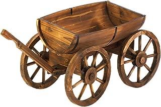 Koehler Home Outdoor Garden Decorative Wooden Apple Barrel Potted Plants Wagon Wheel Crafts Planter