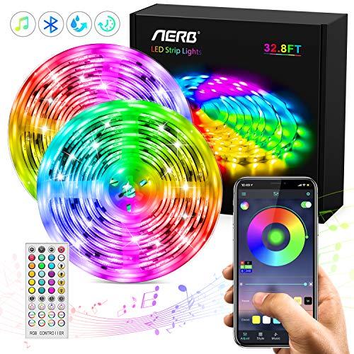 Aerb Bluetooth LED-Streifen, 10M (2x5m)32,8Ft Bluetooth RGB 5050 300 LED Stripes, wasserdicht IP65, TV-Hintergrundbeleuchtung 16 Farben 4-Modus, Intelligente APP-Steuerung und Fernbedienung