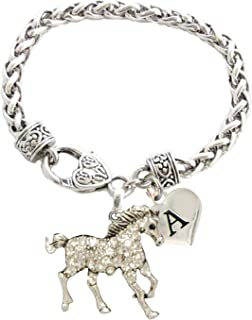 Holly Road Custom Horse Silver Bracelet Jewelry Choose Initial Equestrian 26 Letters