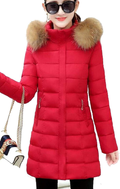 Esast Women's Fur Hoode Packable Outwear Padded Midi Jackets Long Sleeved