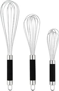 DRAGONN Set of 3 Stainless Steel Silicone Handles. Milk & Egg Beater Balloon Metal Blending, Beating and Stirring. Whisk, Stainless Steel Stainless Steel