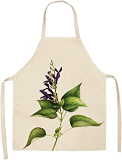1Pcs Flower Pattern Kitchen Apron for Woman Sleeveless Cotton Linen Aprons Home Cooking Baking Bibs Cleaning Tools 5365cm P1001,I