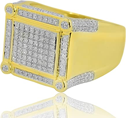 Midwest Jewellery 10K Yellow Gold Large Mens Fashion Ring with 0.64cttw Real Diamonds